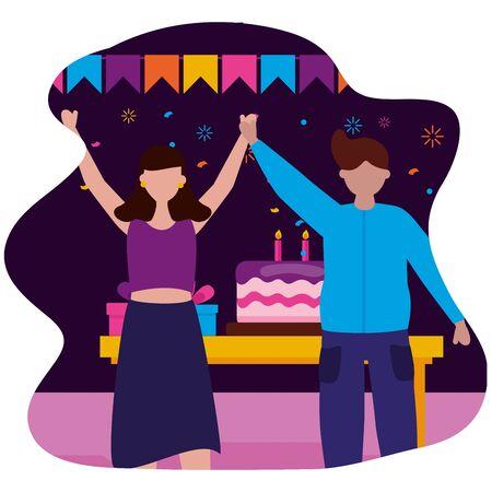 man and woman party cake birthday celebration vector illustration Stock Illustratie