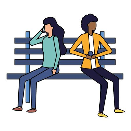 women using smartphone in bench park talking bubble vector illustration