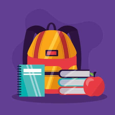 back to school books apple and bag vector illustration