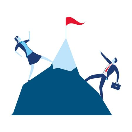 businessman and woman climb mountain with flag business success vector illustration