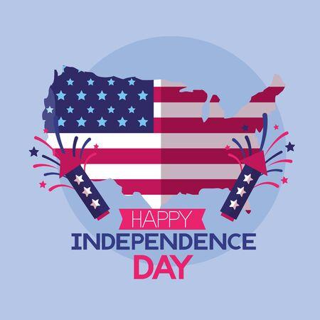map and fireworks american happy independence day vector illustration Illusztráció
