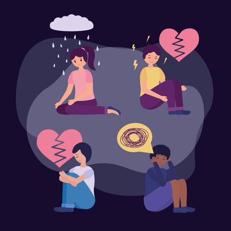 guys with mental disorder psychological depressed vector illustration