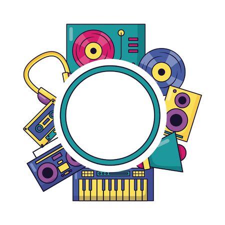 festival di musica delle cuffie dell'altoparlante del vinile stereo di bagde su illustrazione vettoriale di sfondo bianco Vettoriali
