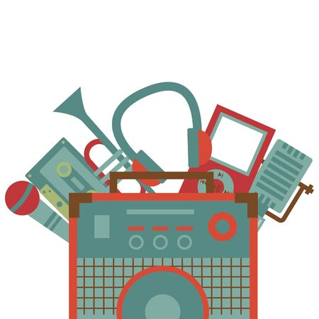 sound amplifier microphone trumpet cassette headphone festival music vector illustration 向量圖像