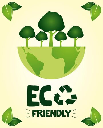 eco friendly planet wit trees leaves take care the environment vector illustration