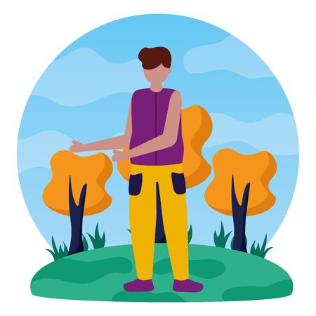 celebrating young man in the outdoors vector illustration Ilustrace