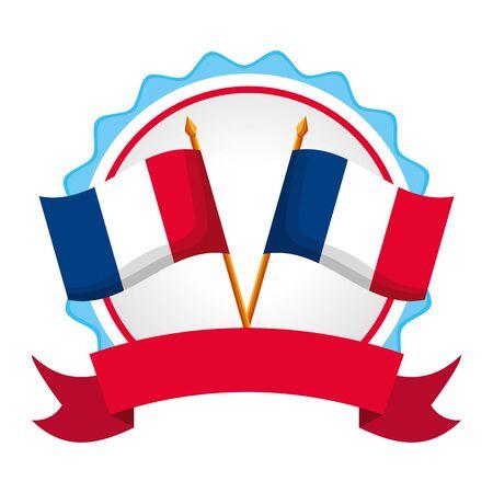 bandiere incrociate della francia felice giorno della bastiglia design piatto illustrazione vettoriale