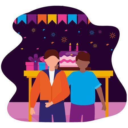 happy men party cake gifts birthday celebration vector illustration Illusztráció