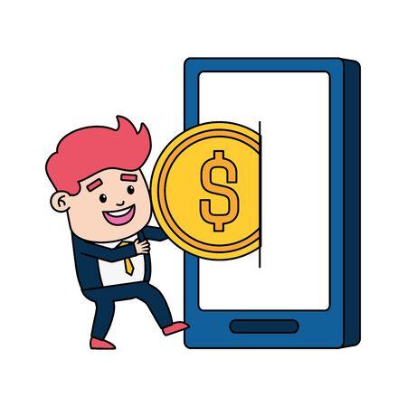homme affaires, paiement en ligne, smartphone, argent, vecteur, illustration Vecteurs