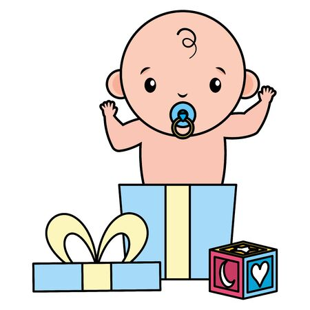 cute little baby boy in gift box vector illustration design