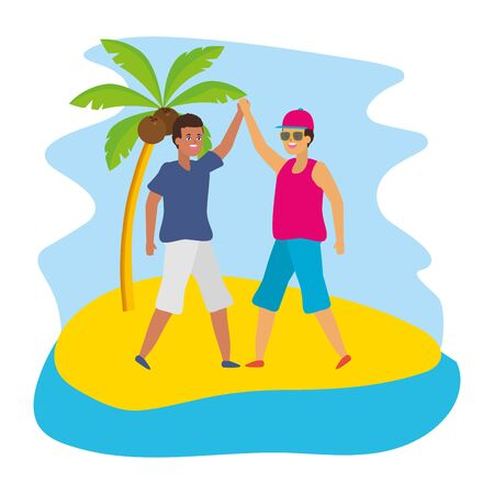 two men friendly together characters in the beach vector illustration Foto de archivo - 130074005