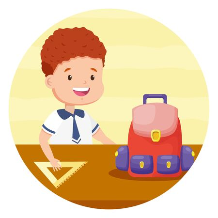 boy student with backpack triangle ruler back to school vector illustration Ilustracja