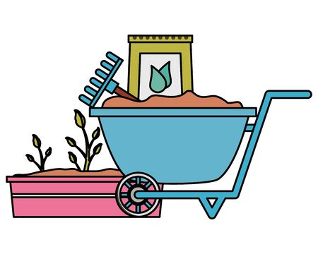 wheelbarrow rake soil plant tools decoration gardening flat design vector illustration