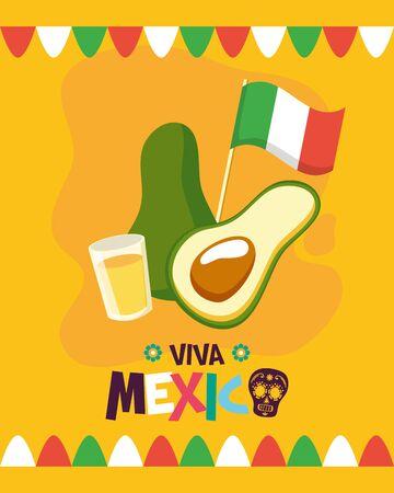 avocado and tequila shot celebration viva mexico vector illustration