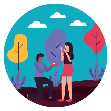 man voorstelt huwelijk met vrouw romantische liefde platte ontwerp vectorillustratie Vector Illustratie