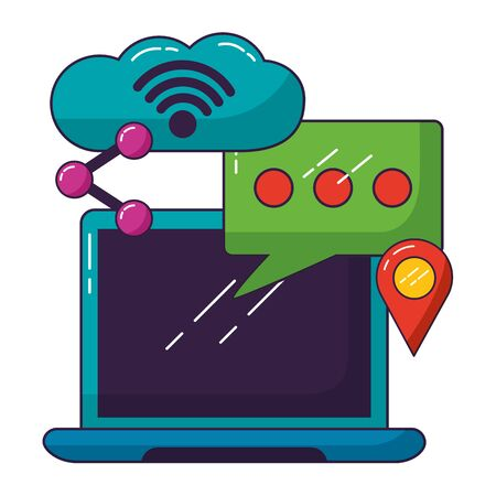 laptop talk bubble cloud computing wifi free connection vector illustration