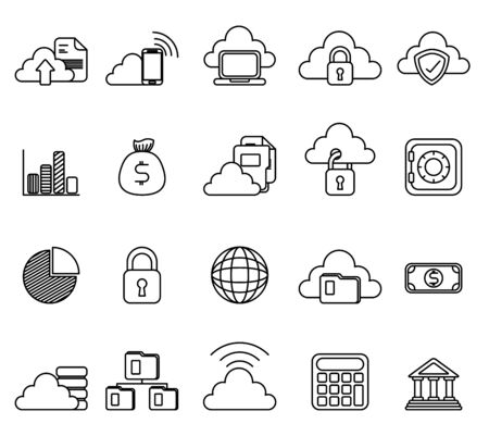 bundle of business monochrome set icons vector illustration design Stok Fotoğraf - 130074537