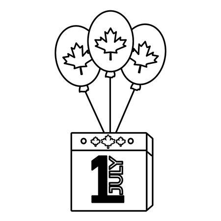 calendar balloons flag happy canada day vector illustration