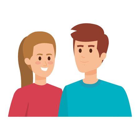 young couple avatars characters vector illustration design Illusztráció