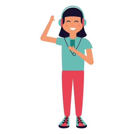 happy girl with mp3 and earphones listening music vector illustration