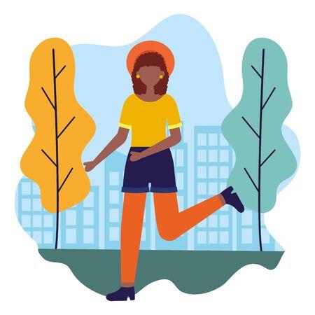 celebrating woman in the city park vector illustration Illusztráció