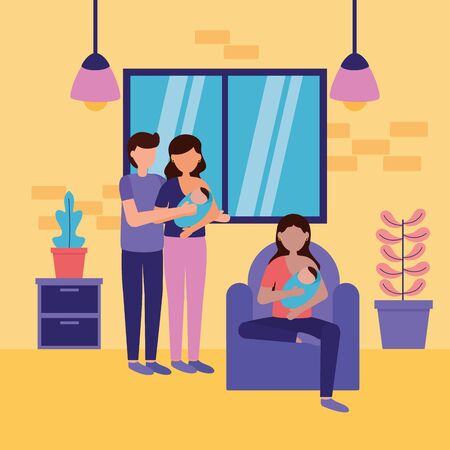 woman with baby and couple newborn feeding pregnancy maternity scene flat vector illustration