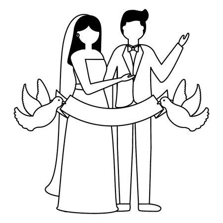 couple wedding pigeons with ribbon vector illustration Illustration