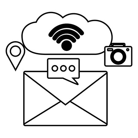 email cloud computing social media wifi free connection vector illustration