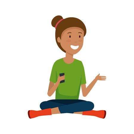 young black woman with smartphone vector illustration design Ilustração