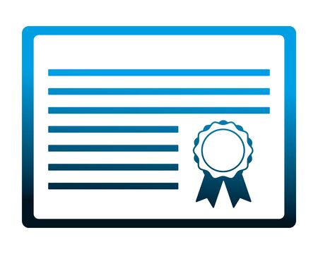 school graduation certificate diploma document vector illustration