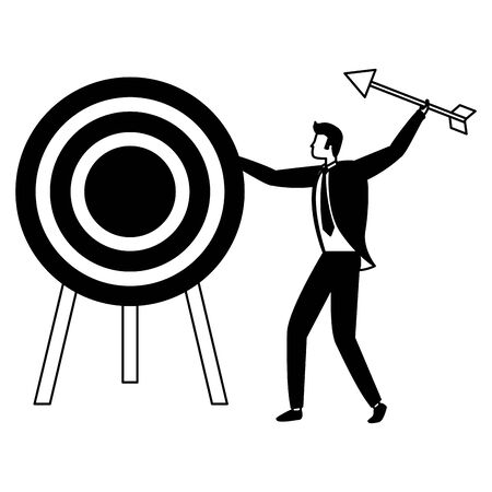 businessman and target arrow strategy vector illustration Çizim