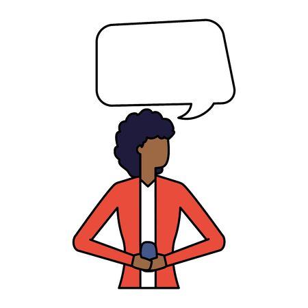woman using smartphone talk bubble vector illustration Иллюстрация