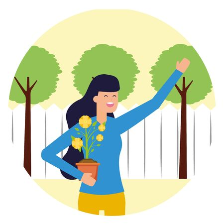 gardener woman with flower in pot gardening vector illustration Ilustração