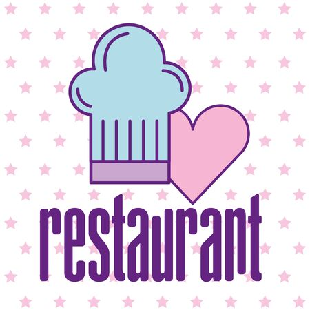 Chefs hat and heart design, Food restaurant menu dinner lunch cooking meal and tasty theme Vector illustration