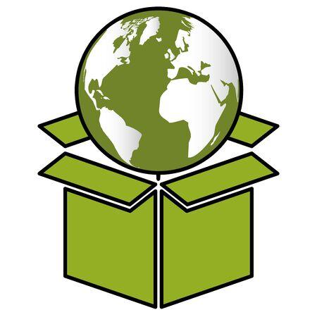 world box eco friendly environment vector illustration