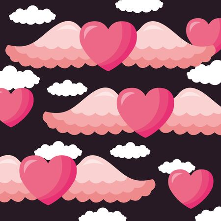 Heart with wings design, Love valentines day romance relationship passion and emotional theme Vector illustration