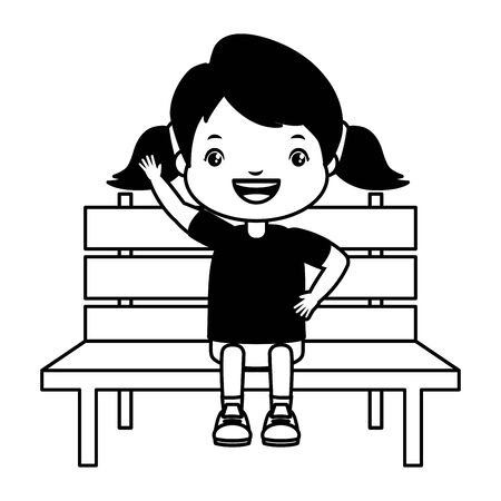 girl sitting on bench white background vector illustration