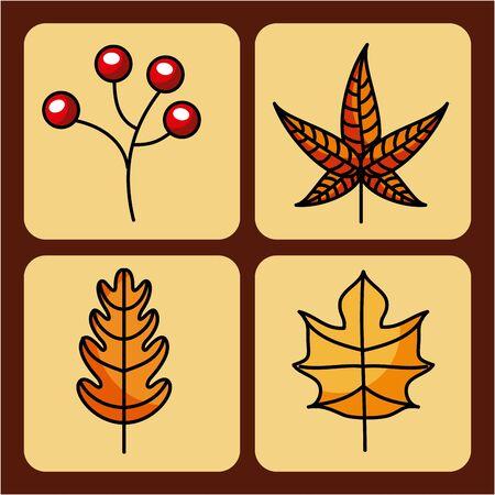 autumn season set icons natural design vector illustration