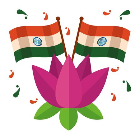 indian flags with lotus flower independence day vector illustration design Ilustrace