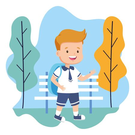 boy student back to school vector illustration