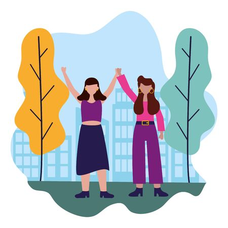 celebrating women in the city park vector illustration  イラスト・ベクター素材