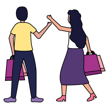 man and woman with shopping bags vector illustration 스톡 콘텐츠 - 130131066