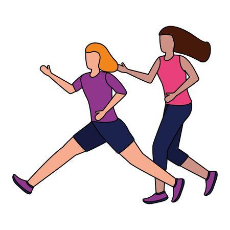 two women practicing running activity vector illustration