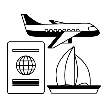 vacations airplane passport and sailing boat  vector illustration