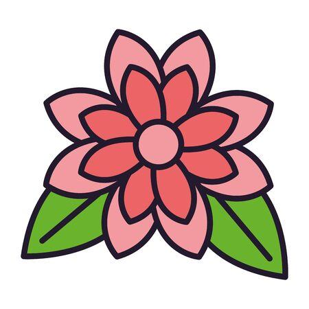 flower petals and leaves white background vector illustration Иллюстрация
