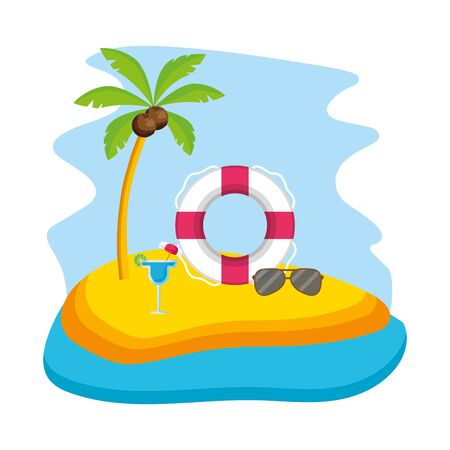 summer time holiday beach float sunglasses cocktail vector illustration Фото со стока - 130131199