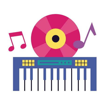 synthesizer vinyl music festival on white background vector illustration