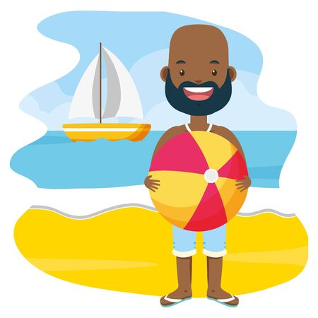 african american man with beach ball in the beach