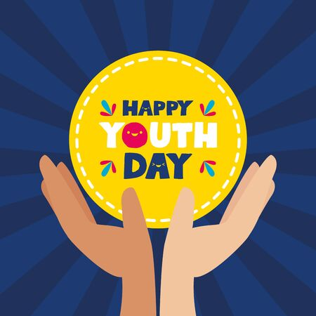 hands with badge happy youth day flat design vector illustration