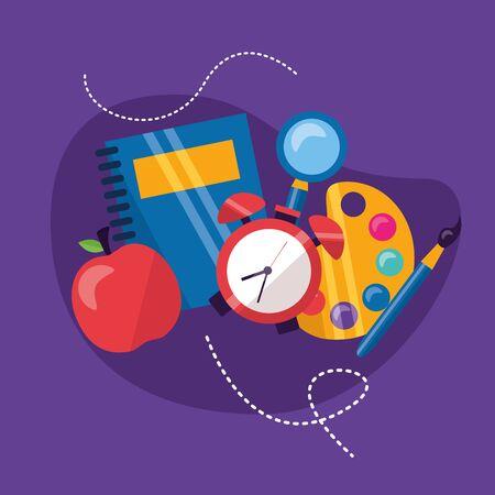 back to school apple supplies vector illustration Ilustrace